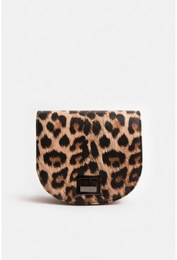 Tan Animal Print Saddle Bag