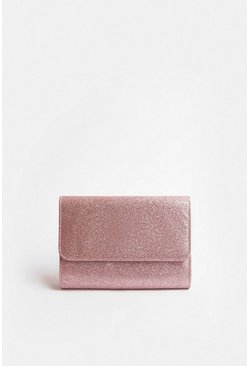 Rose gold Sparkle Envelope Clutch Bag