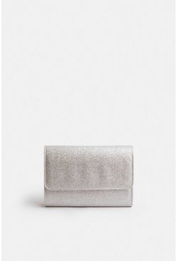 Silver Sparkle Envelope Clutch Bag
