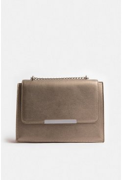 Pewter Boxy Chain Detail Clutch Bag