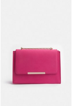 Pink Boxy Chain Detail Clutch Bag