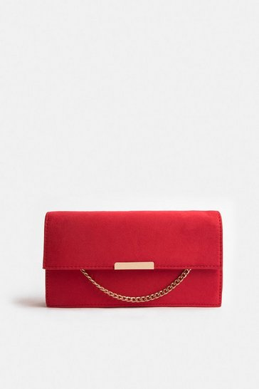 Red Chain Detail Envelope Clutch Bag