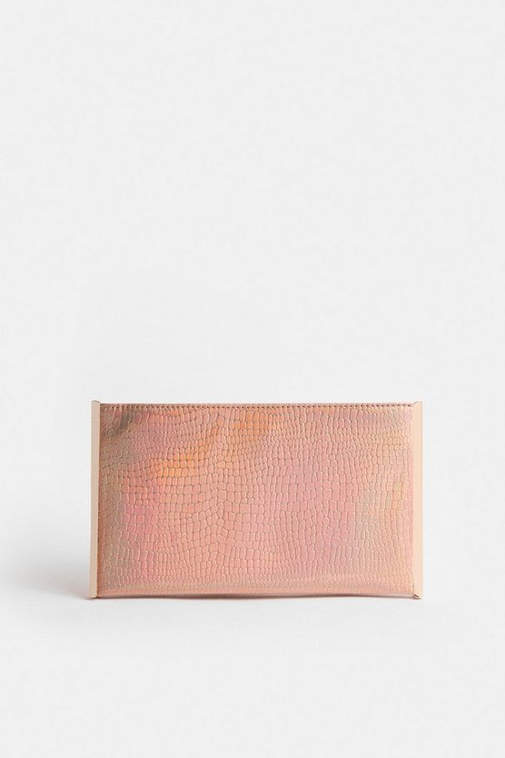 Pink Irridescent Boxy Clutch Bag