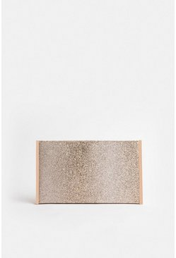 Gold Boxy Glitter Clutch Bag