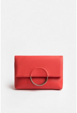 Coral Ring Detail Clutch Bag