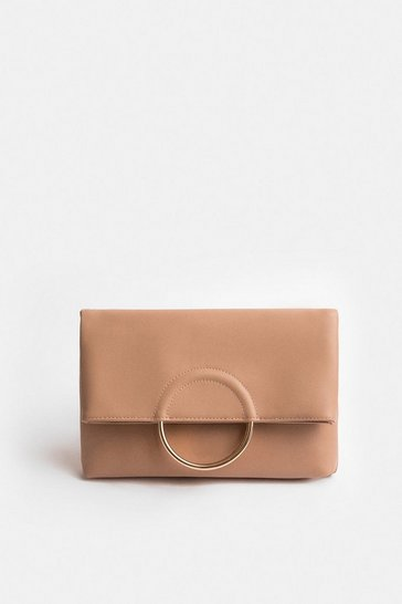 Nude Ring Detail Clutch Bag