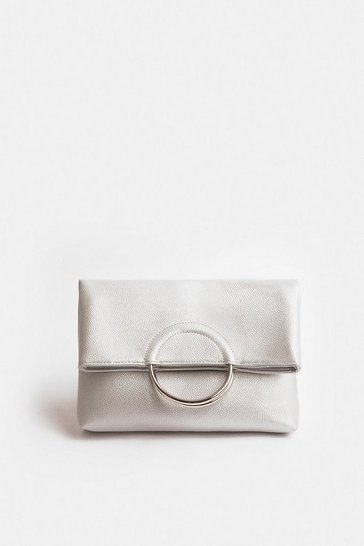 Silver Ring Detail Clutch Bag