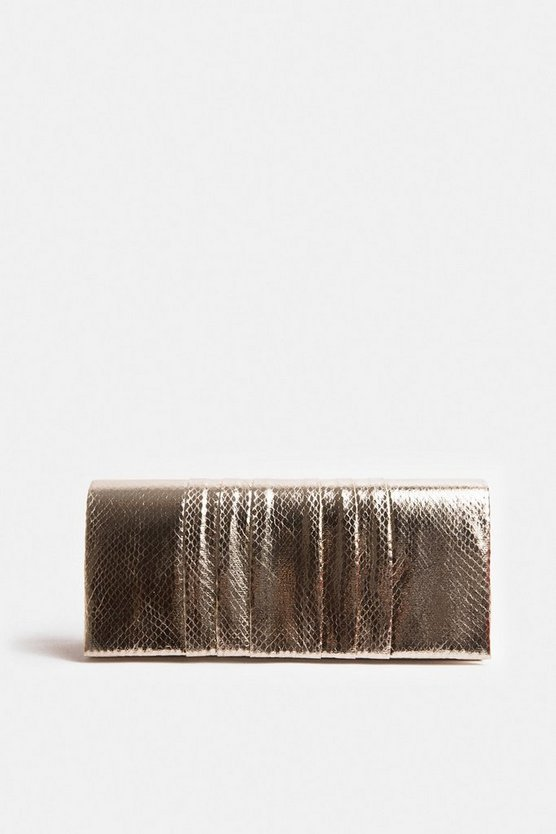 Gold Pleated Clutch Bag