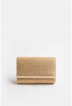 Gold Metallic Woven Clutch Bag
