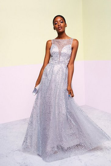 Grey Embellished Tulle Skirt Maxi Dress