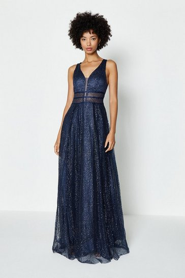 Navy Sparkle Mesh Bodice Maxi Dress