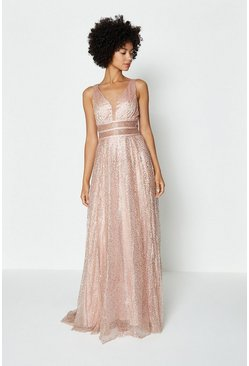 Pink Sparkle Mesh Bodice Maxi Dress