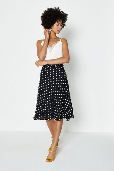 Mono Belt Detail Spot Midi Skirt