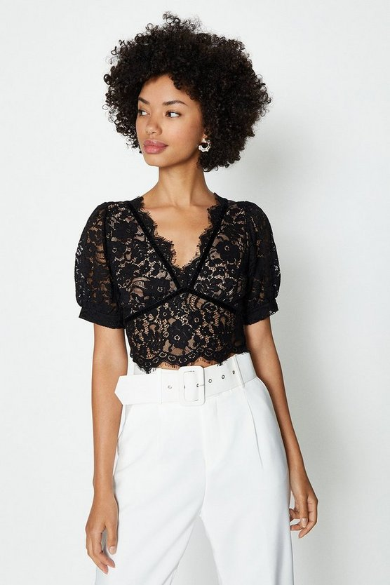 Black Short Sleeve Lace Button Detail Top