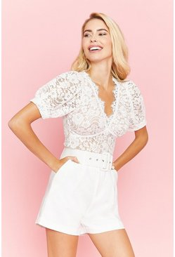 White Short Sleeve Lace Button Detail Top