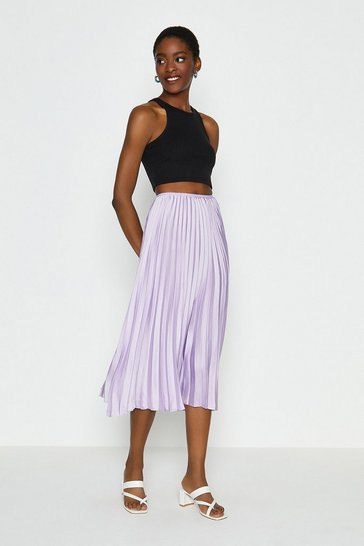 Lilac Pleated Midi Skirt