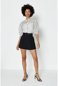 Black Belted Tailored Short