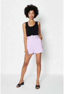 Lilac Belted Tailored Short