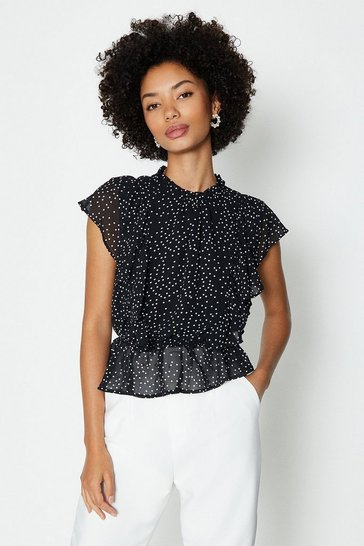 Black Ruffle Detail Peplum Top