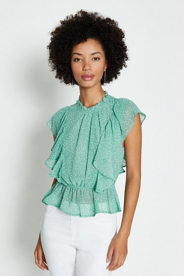Green Ruffle Detail Peplum Top
