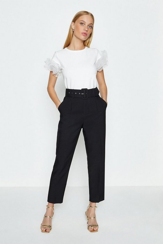 Black Belted Tailored Trouser