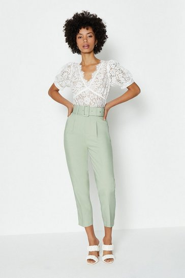 Light green Belted Tailored Trouser