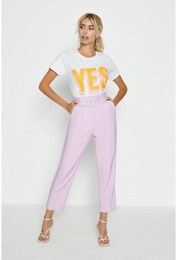 Lilac Belted Tailored Trouser