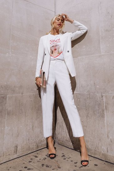 White Belted Tailored Trouser