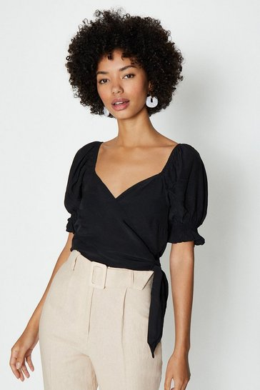 Black Satin Puff Sleeve Wrap Top