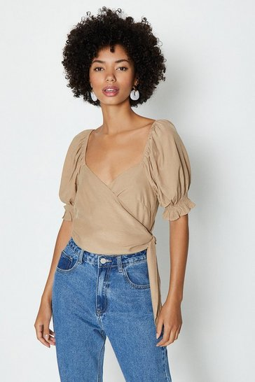 Taupe Satin Puff Sleeve Wrap Top