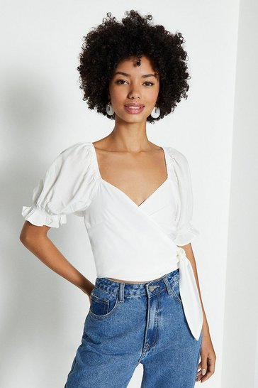 White Satin Puff Sleeve Wrap Top