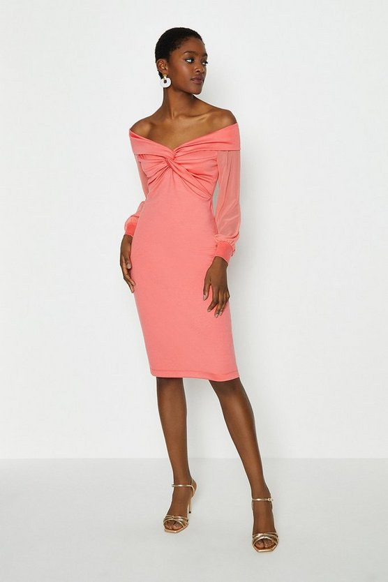 Coral Sheer Sleeve Ponte Twist Bardot Dress