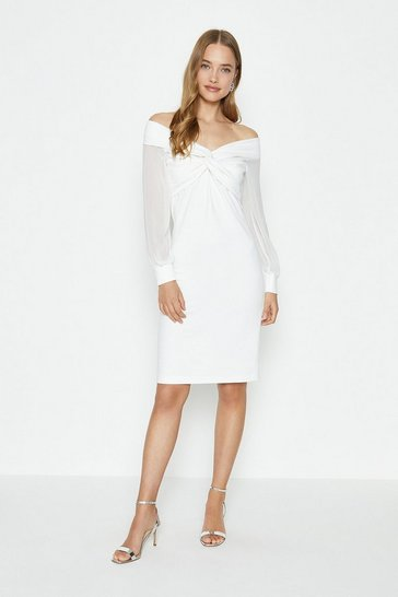 Ivory Sheer Sleeve Ponte Twist Bardot Dress