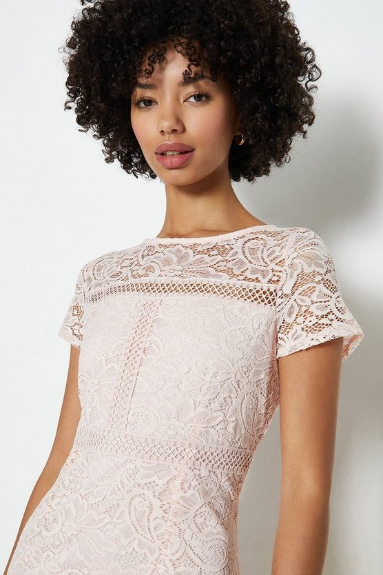 Blush Ladder Trim Lace Pencil Dress