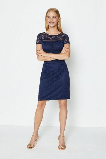 Navy Ladder Trim Lace Pencil Dress