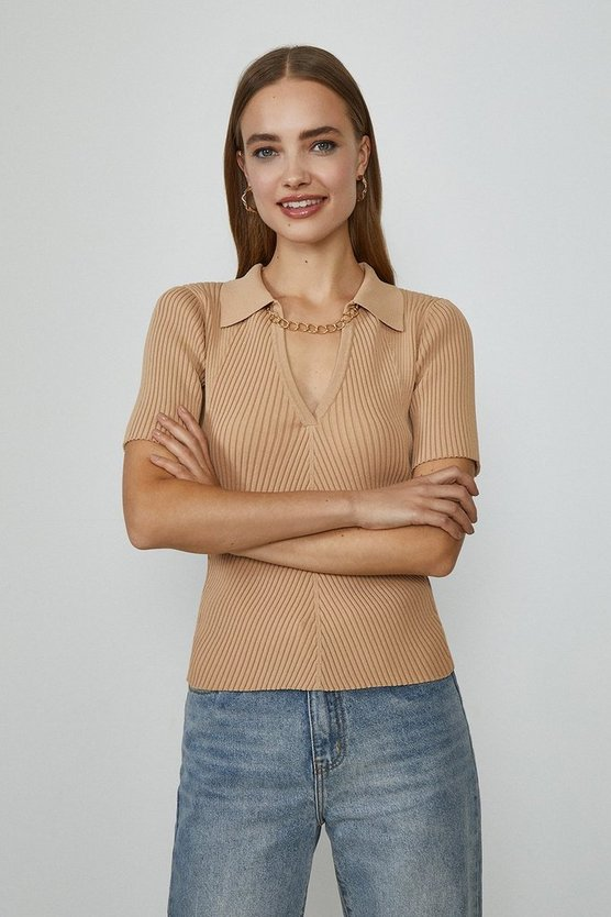 Beige Knitted Rib Chain Detail Collared Top
