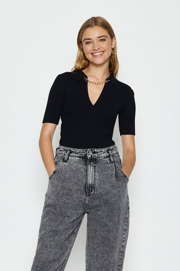 Black Knitted Rib Chain Detail Collared Top