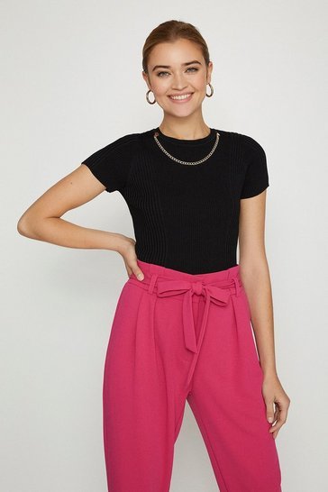 Black Knitted Rib Eyelet And Trim Top