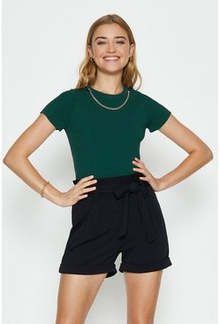 Dark green Knitted Rib Eyelet And Trim Top