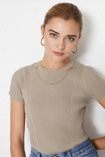 Taupe Knitted Rib Eyelet And Trim Top