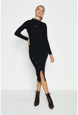 Black Button Detail Envelope Neck Knitted Dress