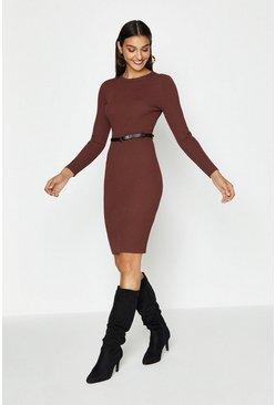 Rust Knitted Rib Dress With Skinny Belt