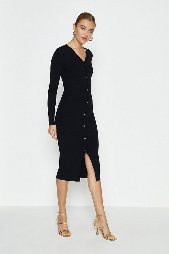 Black Button Detail Knitted Rib Dress