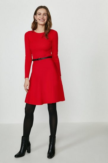 Red Long Sleeve Knitted Crew Neck Skater Dress