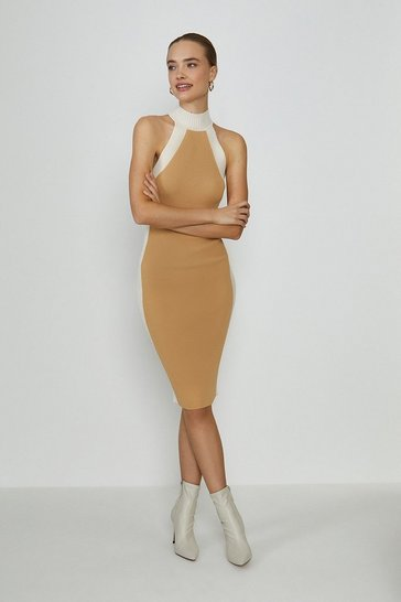 Camel High Neck Knitted Rib Mono Dress
