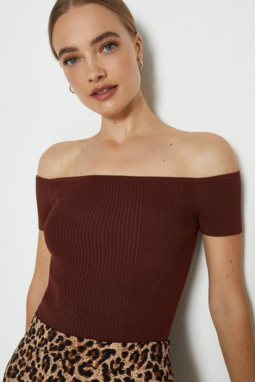 Burgundy Knitted Rib Bardot Top