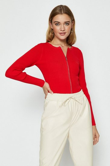 Red Knitted Rib Zip Through Cardigan