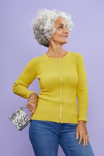 Yellow Knitted Rib Zip Through Cardigan