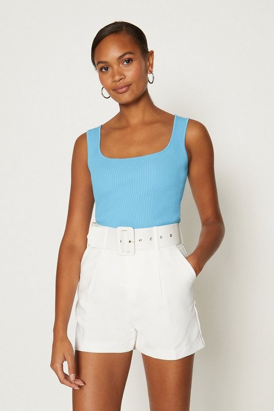 Blue Knitted Rib Square Neck Vest Top