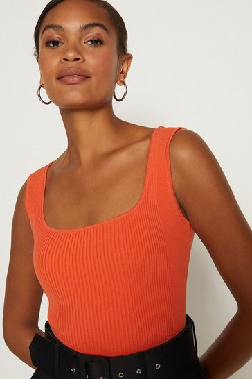 Orange Knitted Rib Square Neck Vest Top